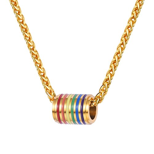 PROSTEEL Gay Pride Necklace Rainbow LGBT Jewelry Love Wins Equality Ring Necklace Inspirational Jewelry Friendship Necklaces Gift for Him 18K Gold -