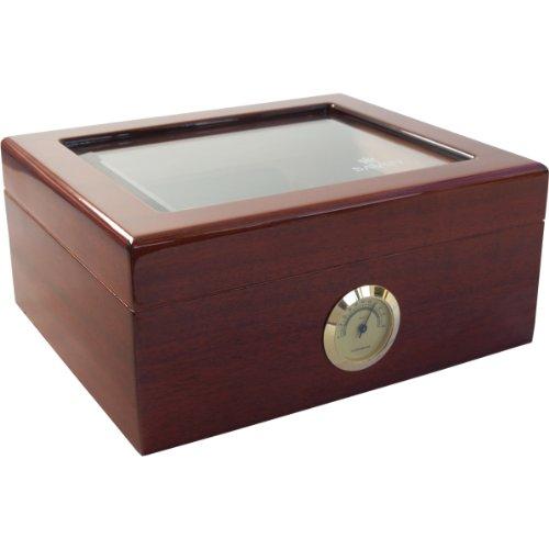 Ashton Window (Savoy by Ashton Small Glass Top Mahogany Humidor, 25 Cigar Capacity)