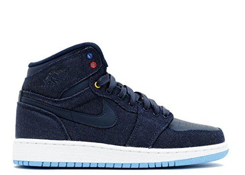 Nike Air Jordan 1 Retro High Bg Hi Topp Trenere 682782 Joggesko Sko Obsidian, Wht-dk Pwdr Bl-g Ryl
