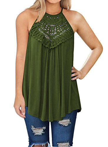 MIHOLL Womens Summer Casual Sleeveless Tops Lace Flowy Loose Shirts Tank Tops (Army Green, Small)