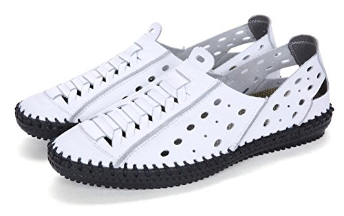 Men's Leather Beach Casual Toe JiYe by White Closed Sandals Shoes d1xSxZX