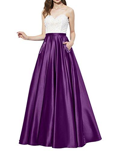 La_mia Brau Elegant Lang Satin Abendkleider Ballkleider Partykleider Jugendweihe Kleider A-Linie Festlichkleider Neu Violett NjqLu