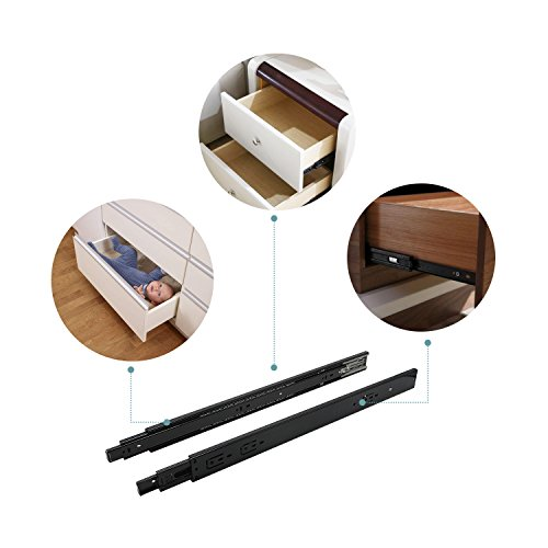 24 Inch Full Extension Ball Bearing Soft Close Slides 80 LB Capacity Kitchen Cabinet Drawer Slides Black Finish, Rear Mount Bracket and Screws are Included (24 Inch 10 Pair) by KNOBWELL (Image #7)