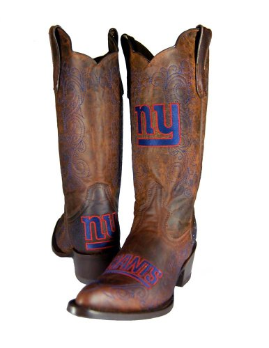 NFL New York Giants Women's Flyer Pull Up Western Boot, Brown, 7 by Old Pro Leathers