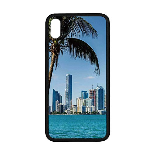 Coastal Decor Rubber Phone Case,Miami Downtown with Biscayne Bay Buildings and Palm Tree Panoramic Compatible with iPhone Xs Max