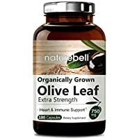 Organic Olive Leaf Extract 750mg,180 Capsules, Powerfully Supports Immune System, Cardiovascular Health & Antioxidant. Non-GMO & Made In USA