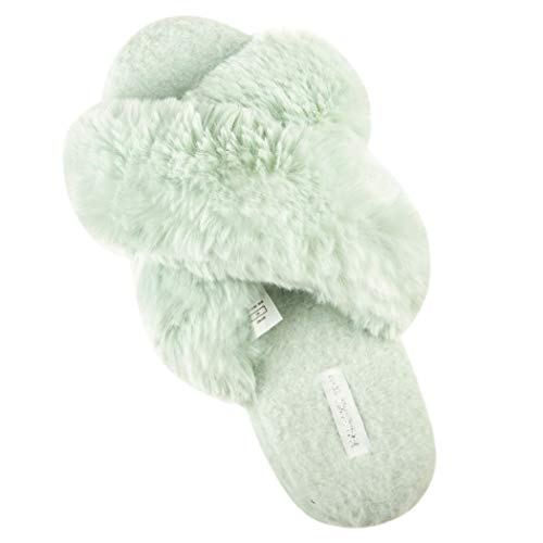 (Women's Cross Band Soft Plush Fleece House/Outdoor Slippers (5-6 M US, Mint Green))