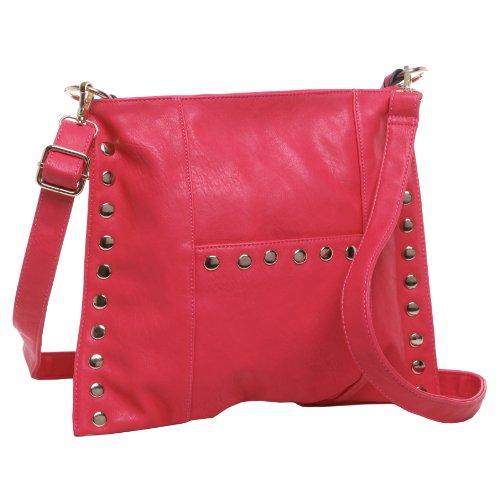 MG Collection BREA Fuchsia Pink Gold Studs Fashion Satchel Handbag / Shoulderbag (Stud Hobo Purse)
