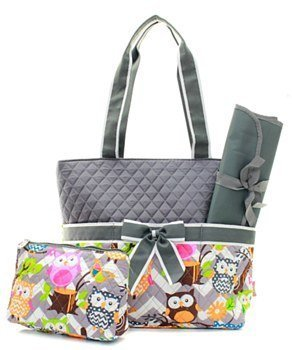 Quilted Chevron Owl 3pc Diaper Bag Set Gry
