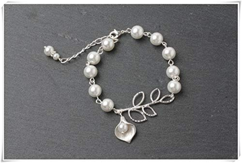 Calla Lily Necklace Set, White Pearl Necklace, Bridesmaid Necklace, Wedding Jewelry, Fine Jewelry, Pure Handmade. (Bracelet) (Necklace Pearl Lily)