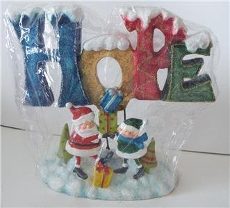 NEW Unique SANTA and ELF HOPE Ceramic CHRISTMAS SCULPTURE
