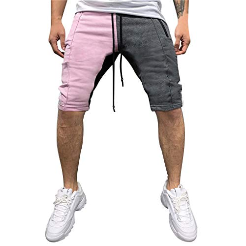 LUCAMORE Men's Casual Soft Elastic Waist Drawstring Patchwork Gym Active Pocket Shorts Pink