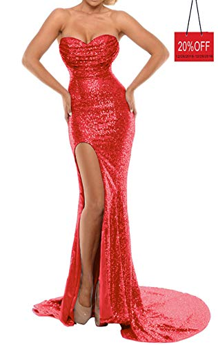BEAUTBRIDE Women's Sexy Strapless Mermaid Evening Dress with Slit 2018 New Red B 14