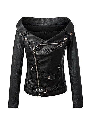 Allonly Women's Faux Leather PU Off Shoulder Zip Up Moto Biker Bomber Jacket Coat Belt