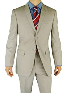 B00FAYXDJG Giorgio Eleganz Men's Trim Modern Fit Suit 2 Button Light Gray 50L