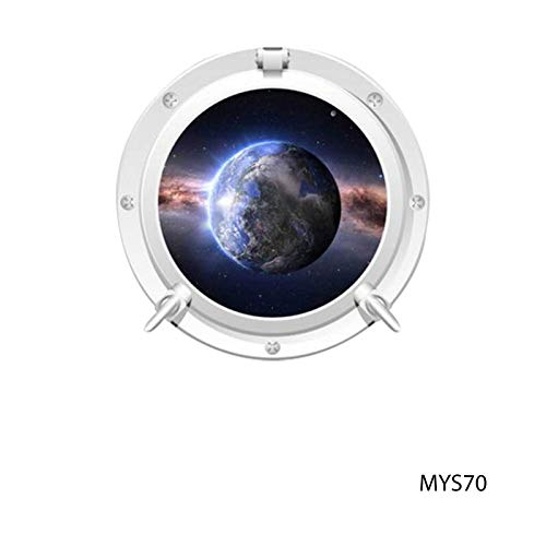 - MySticky 3D Round Porthole Wall Decals/Stickers/Art - Moon • (3 Sizes = S/M/L) • [Vinyl Wall Decor for Bedroom, Living-Room, Kids or Any Room] [Sci-Fi Decal, Planet Sticker, Spacecraft, Galaxy]