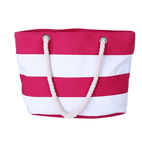 Cotton Canvas Tote Beach Bag With Zipper Top Handle Handbag Shoulder Bags Shopping Bag from Nevenka (Style 1, Pink White) -