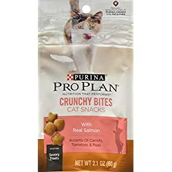 Purina Pro Plan Dry Cat Snack, Crunchy Bites With Real Salmon, 2.1-Ounce Pouch, Pack of 10