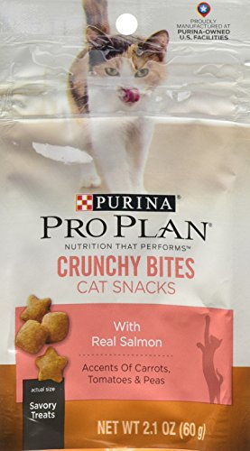 Crunchy Bites (Purina Pro Plan Dry Cat Snack, Crunchy Bites With Real Salmon, 2.1-Ounce Pouch, Pack of 10)