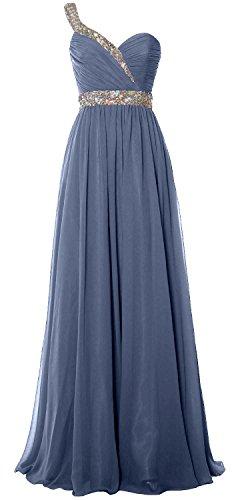 Evening Steel Shoulder Dress Elegant One Blue Long Prom Gown Chiffon Formal MACloth 2018 q86OPww