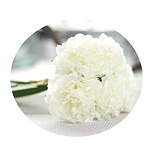 Artificial Flower 5 Heads Peony Bridal Bouquet Silk Flower for Wedding Valentine's Day Party Home DIY Decoration 4 7