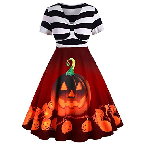 Homemade Monsters Inc Costumes (Women's Halloween Dress Vintage 1950s Cocktail Swing Evening Party Pumpkin Dress Short Sleeve - Limsea)