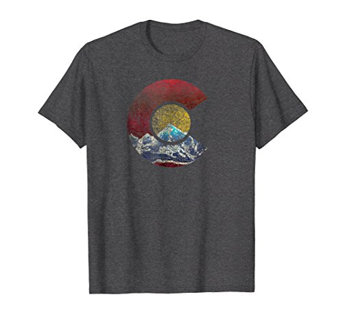 Mens Colorado Shirt With Flag Themed Mountain Xl Dark Heather