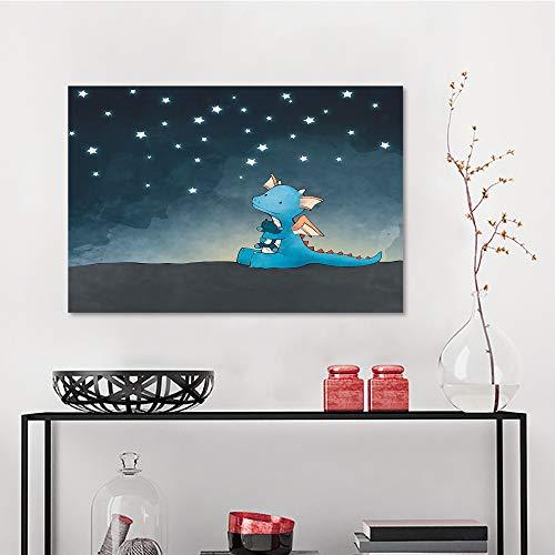 Allbrit Art Decor Wall Stickers, Blue Dragon Nursery Starry Night Sky Square, Decorative Wall Mirrors W23.6 x L31.5 Inch ()