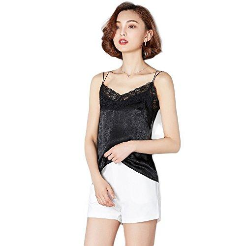 Black Satin Stretch Sleeveless Top (Manka Vesa Women's Satin V Neck Lace Halter Top Sleeveless Vest Camisole Strap Tank Tops Black)
