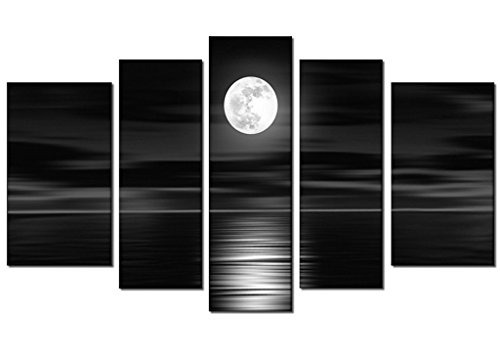 100% Hand Painted Oil Painting on Canvas Seascape Contemporary 5-Panels Black And White Skyline Sea Full Moon Night Peaceful Modern Abstract Gift Hanging Wall Decoration Framed Inside by uLinked Art by uLinked Art