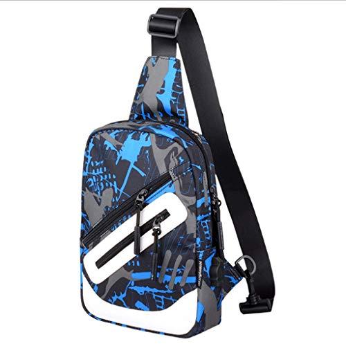 HY Chest Bag Men's Canvas Shoulder Bag Messenger Bag Men's Casual Sports Small Backpack (Color : Blue Gray, Size : L16CMXW7CMXH37CM)