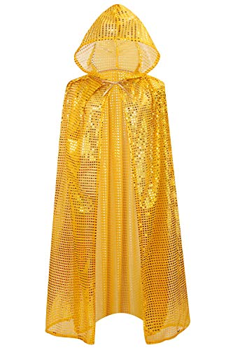 OurLore Ladies Cloaks Full Length Colored Sequins Goddess Cape Halloween Christmas Outerwear (Gold (Hooded)) -