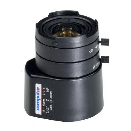 Computar HG2Z0414FC-MP 1/2-inch 4-8mm f1.4 Varifocal, DC Auto Iris Megapixel w/ 4-pin mini connector (C Mount) ()