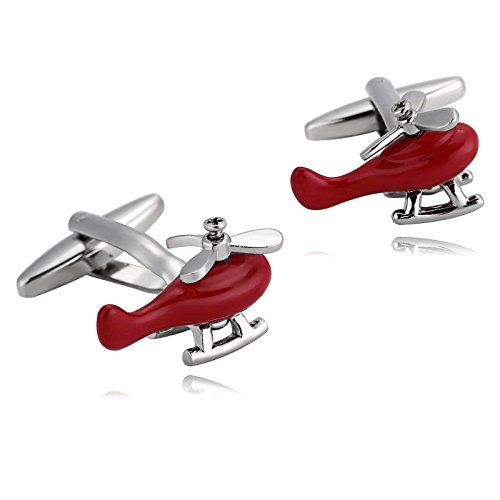 MoAndy Stainless Steel Cufflinks Silver Red Jewelry Helicopters Pilot Rescue Shirt Studs for Mens