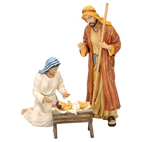 7 Inch Real Life Nativity Set - Includes All People, Lighted Manger, Chest Of Gold, Frankincense & Myrrh