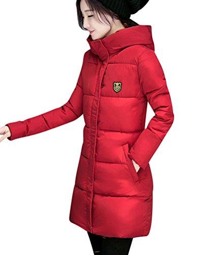 Rojo Delgado Abajo Abrigo Chaqueta Invierno Mujer Acolchado Caliente Parka Largo Encapuchado wIEvEqC