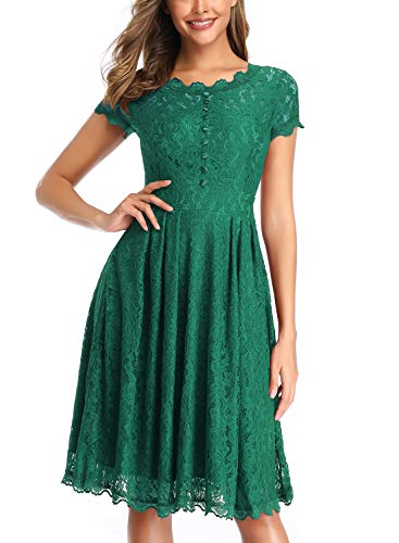 OWIN Women's Retro Floral Lace Cap Sleeve Vintage Swing Bridesmaid Dress (S, Green)]()