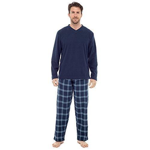 CABALLEROS Insignia Set Pijama Camiseta de manga larga y Cuadros Fondos Ropa Cómoda - ht735m Azul