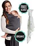 Organic Baby Wrap | with Free Organic Muslin Blanket | Cotton Sling Carrier for Newborns, Infants & Toddlers | One Size Fits All | Perfect Customer Care Promise Guarantee