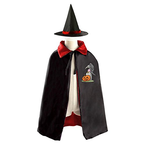 Tombstone and Crow Reversible Halloween Cape and Witch Hat for Kids Red