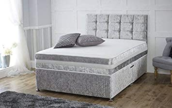 on sale 51197 d3bee Sleep Factory Ltd 4ft Silver Crushed Velvet 2 Drawer Divan Bed With Memory  Foam Sprung Mattress And Matching Headboard – Available in 3ft, 4ft, 4ft6,  ...