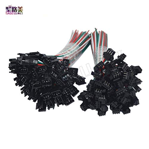 Gimax 100 Pair 3pin JST SM Plug Connector 3 Pin JST SM Connector Male to Female Cable for LED Strip Lights 2811 2812B RGB