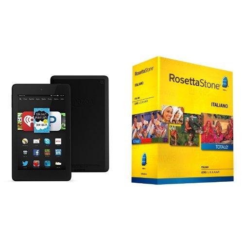 """Learn Italian: Rosetta Stone Italian - Level 1-5 Set with Fire HD 6, 6"""" HD Display, Wi-Fi, 8 GB by Amazon"""