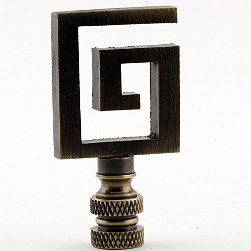Greek Key Lamp Finial - Your Choice of Finishes - 2.5 Inches High (Bronze)