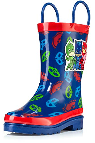 PJ Masks Little Boys' Character Printed Waterproof Easy-On Rubber Rain Boots - Size 11 Little Kid