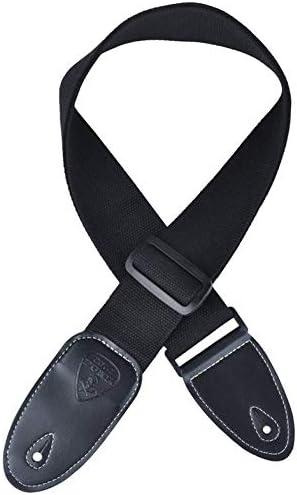 Correa de guitarra de algodón y poliéster Correa de hombro ajustable para guitarras eléctricas Accesorios de instrumentos musicales universales - Negro