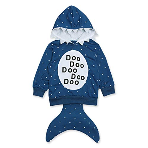 (Baby Boys Girls Cute Shark Fox Cotton Hoodies Zip Sweatshirt Zipper Jacket Coat (4T, Blue Shark))