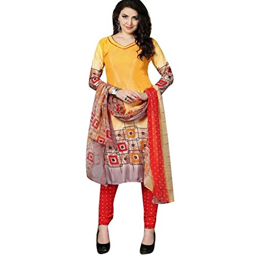 Faux Crepe Salwar Kameez - Ladyline Ready to wear Rich Faux Crepe Silk Printed Salwar Kameez Suit Indian Pakistani