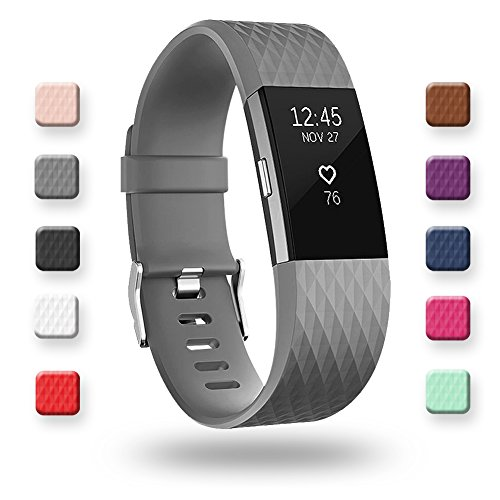 POY Replacement Bands Compatible for Fitbit Charge 2, Classic & Special Edition Sport Wristbands, Small Gray, 1PC
