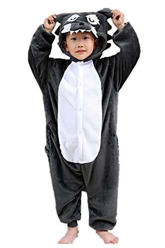 Children's Wolf Pajamas Sleeping Wear Kigurumi One Piece Animal Cosplay (Scary Halloween Sleepover Ideas)